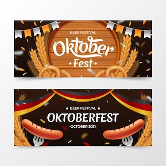 Realistische oktoberfest-banner eingestellt