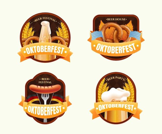 Realistische oktoberfest-etikettenkollektion