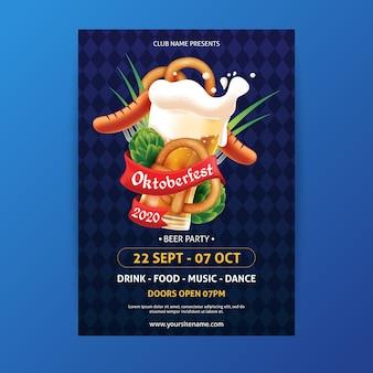 Realistische oktoberfest-plakatschablone