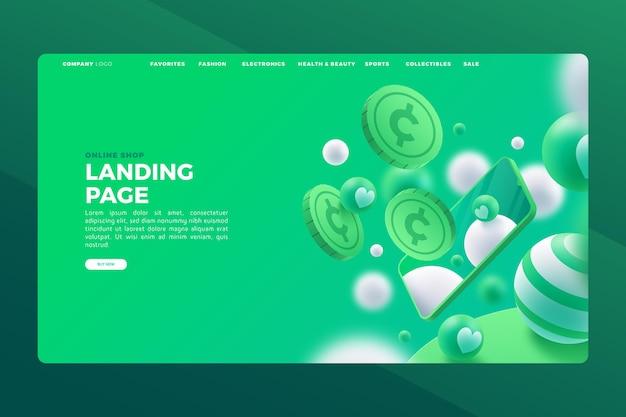 Realistische online-shopping-landingpage