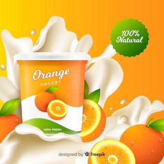 Realistische orange joghurt-werbung