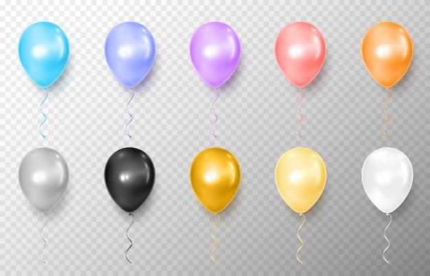 Realistische orange, rosa, violette, blaue, schwarze, silberne, goldene, gelbe, weiße ballonillustration