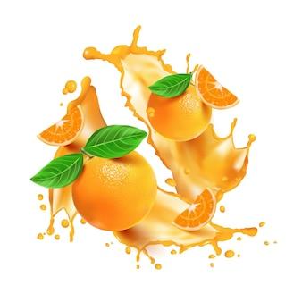 Realistische orangenspritzer und früchte