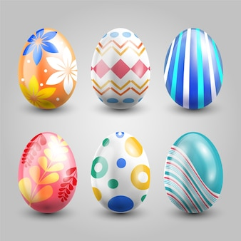 Realistische ostertags-eiersammlung