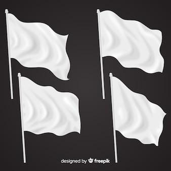 Realistische packung mit textilflaggen