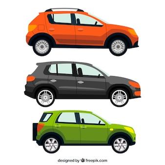 Realistische packung von drei autos