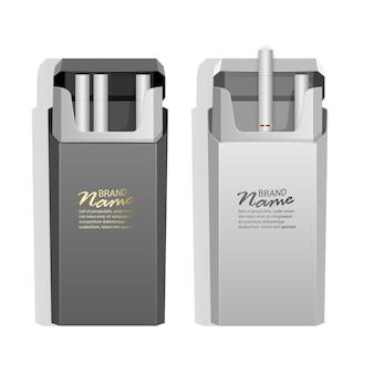 Realistische packungen mit leichten zigaretten, packungen mit weißen und schwarzen farben.
