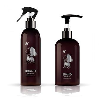 Realistische paketflasche für kosmetischen sahnebehälter.