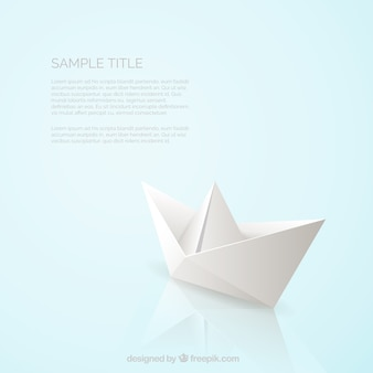 Realistische papier boot hintergrund