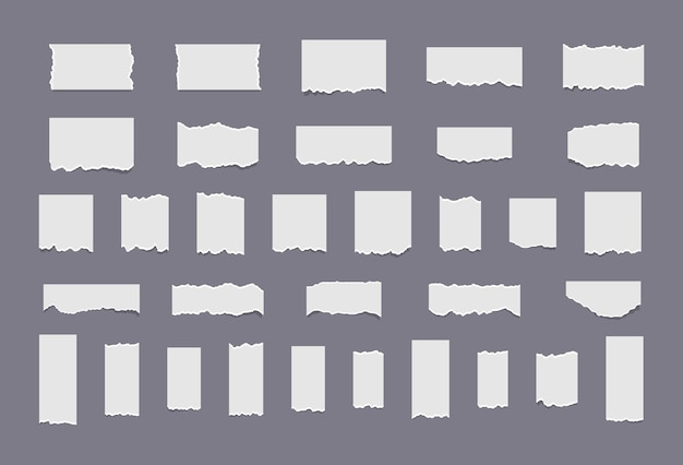 Realistische papierfetzen mit zerrissenen kanten rissen weiße notiz