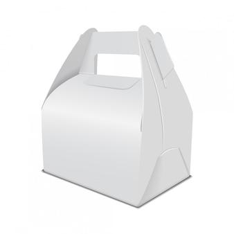Realistische papierkuchen-verpackungsbox, geschenkbehälter mit griff. food box vorlage wegnehmen