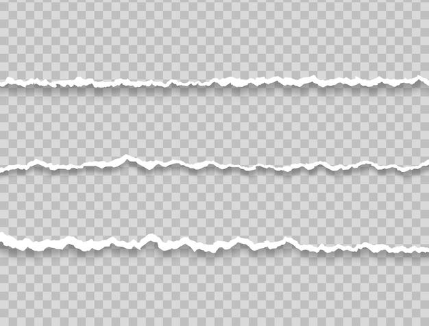 Realistische papierschnipsel mit eingerissenen kanten riss white note