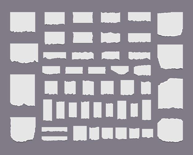 Realistische papierschnipsel mit zerrissenen kanten zerrissene weiße notiz.