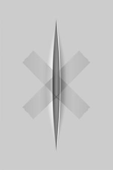 Realistische papierschnitte mit einem messer mit transparentem hintergrund