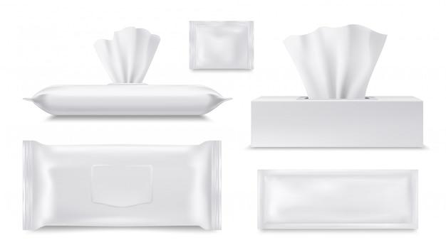 Realistische papiertaschentuchbox, beutel mit feuchttüchern