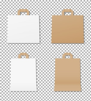 Realistische papiertüte festgelegt. leeres einkaufstaschenmodell. verpackung von papiertüten. modell isoliert. template design.