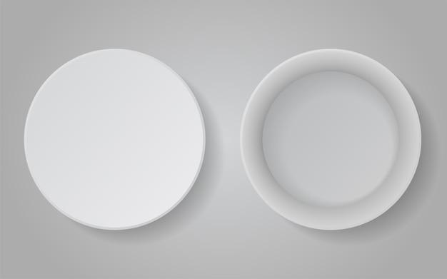 Realistische pappe runde weiße box für sachen.