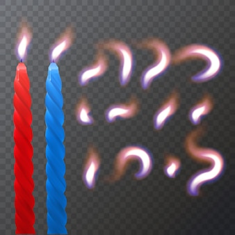 Realistische paraffin- oder wachsbrennerkerze und andere flamme einer kerzennahaufnahme isoliert