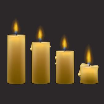 Realistische paraffinkerzen mit flame fire light set row.