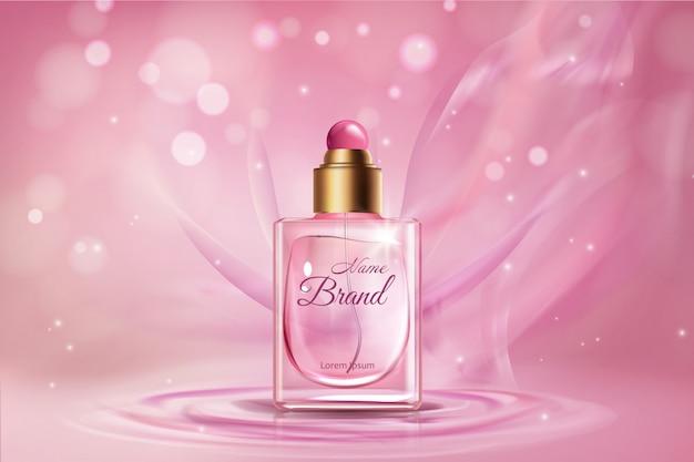 Realistische parfüm-werbebanner-schablone der frauen
