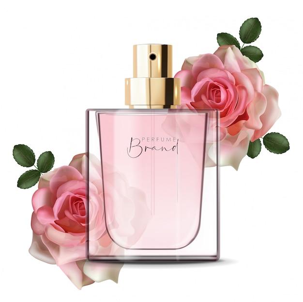 Realistische parfümflasche und rose, isolierter behälter, elegantes design, verpackung, flüssiges blumenaroma, neue produktillustration