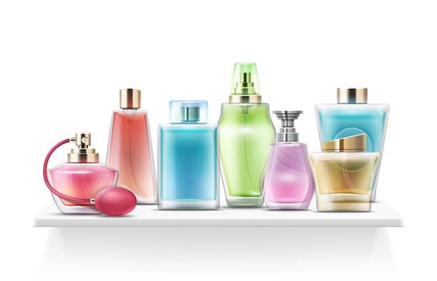 Realistische parfümflaschen. sprühglasflasche, kosmetikpackung