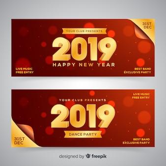Realistische party banner des neuen jahres 2019