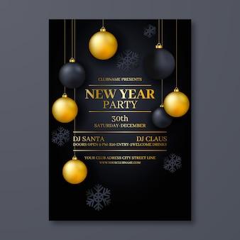 Realistische party-flyer-vorlage für das neue jahr