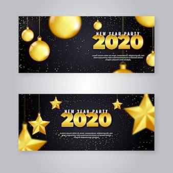 Realistische partyfahnen des neuen jahres 2020