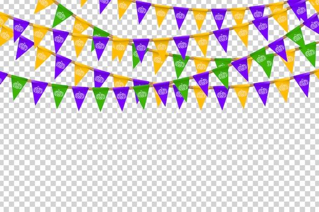 Realistische partyflaggen mit halloween-farben und weißem kürbismuster für dekoration und abdeckung auf dem transparenten hintergrund. konzept des glücklichen halloween.