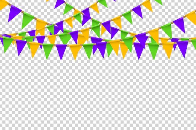 Realistische partyflaggen mit halloween-farben zur dekoration und abdeckung auf dem transparenten hintergrund. konzept des glücklichen halloween.