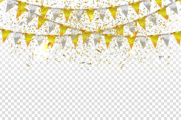Realistische partyflaggen und goldene konfetti zur dekoration und abdeckung auf dem transparenten hintergrund. konzept von geburtstag, feiertag und feier.