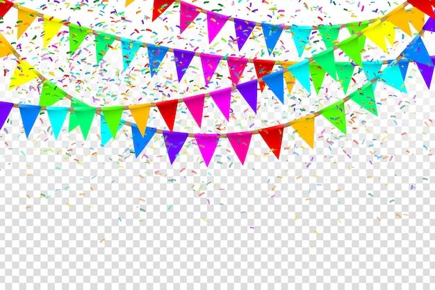 Realistische partyflaggen zur dekoration und abdeckung auf dem transparenten hintergrund. konzept von geburtstag, feiertag und feier.