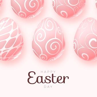 Realistische pastellfarbene monochrome osterillustration mit eiern