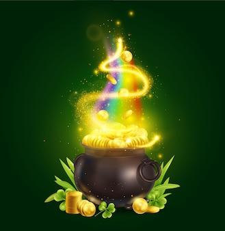 Realistische patrick day green pot komposition mit zaubertopf und stapeln goldener münzen mit regenbogenillustration rainbow