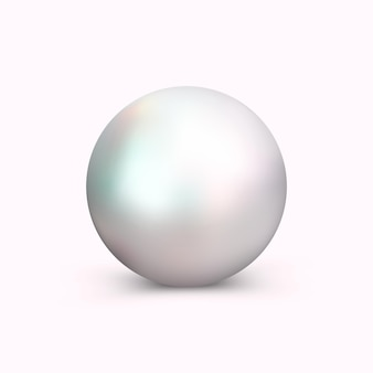Realistische perle für die dekoration, die schmuck und kosmetik annonciert. perlen-logo für juwelier, restaurant und mehr. dekoratives element getrennt auf weiß.