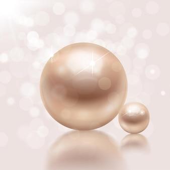 Realistische perlen mit illustration Premium Vektoren