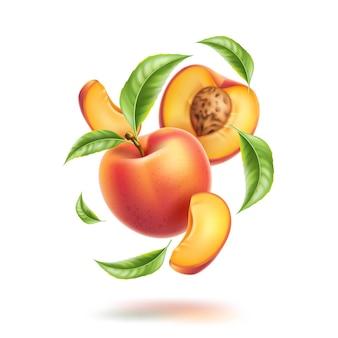 Realistische pfirsichhälfte und scheiben mit blättern in wirbelbewegung saftige frucht für natürliches produktdesign