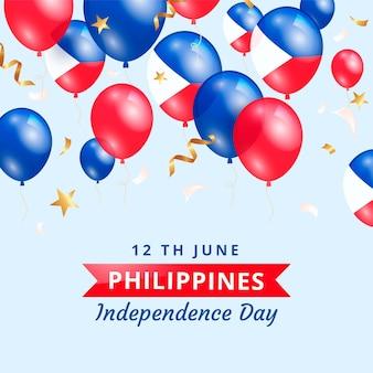 Realistische philippinische unabhängigkeitstagillustration Premium Vektoren