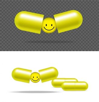 Realistische pillen-medizin-kapsel-platte mit lächeln auf weißem hintergrund