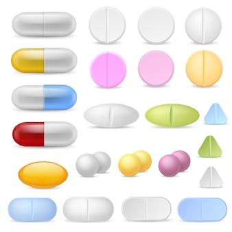 Realistische pillenikonen. medikamente tabletten kapseln medikamente schmerzmittel antibiotika vitamine. pharmazeutische behandlung, eingestellt