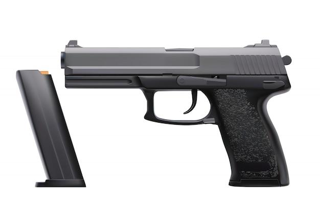 Realistische pistole auf weiß
