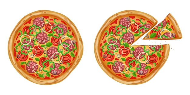 Realistische pizza mit verschiedenen zutaten. traditionelles italienisches fast food.