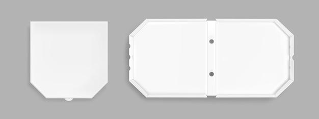 Realistische pizzakarton-draufsicht
