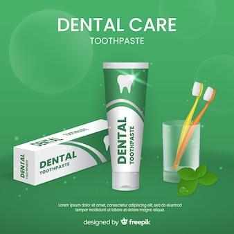 Realistische plakatanzeige für frische zahnpasta