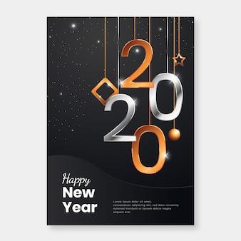 Realistische plakatschablone des neuen jahres 2020
