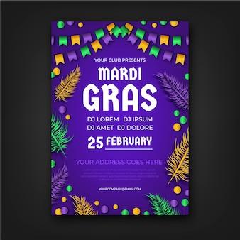 Realistische plakatvorlage für karneval