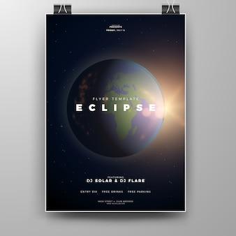 Realistische planetenerde mit sun beam flyer vorlage