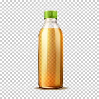 Realistische plastikflasche mit orangenlimonade. frische soda-trinkflasche mit deckel auf transparentem hintergrund