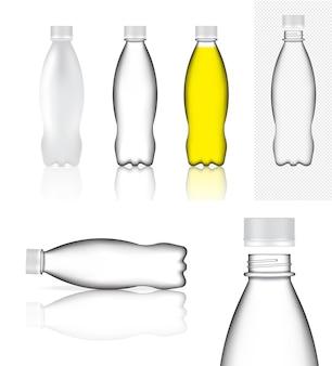 Realistische plastikflasche mit transparentem verpackungsprodukt